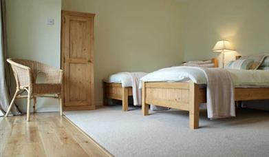 A twin  bedroom at The Wolds Retreat in East Yorkshire.