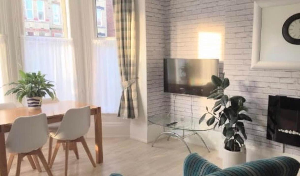 The living area at Rialto Holiday Apartments in East Yorkshire.
