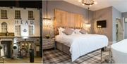The entrance and a picture of one of the bedrooms with feature bath at The Kings Head in East Yorkshire.