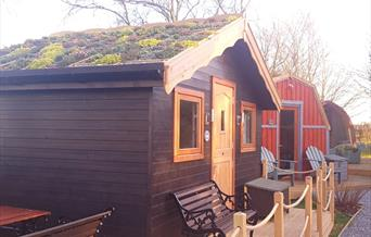 The glamping hut exteriors at Seaways Glamping and Camping in East Yorkshire.