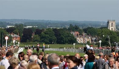 A view taken over the racecourse looking to towards the town centre at Beverley Racecourse in East Yorkshire.