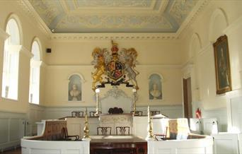 The inside of the Georgian courtroom at Beverley Guildhall in East Yorkshire.