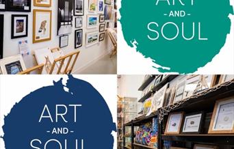 Art & Souls' logo, with two photos of the shop, showing artwork in East Yorkshire