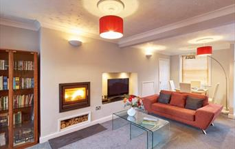 The living room & log fire at Bright Moments, Beverley, East Yorkshire.