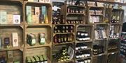 Shelves & products for sale at The Mile Farm Shop, Pocklington, East Yorkshire.
