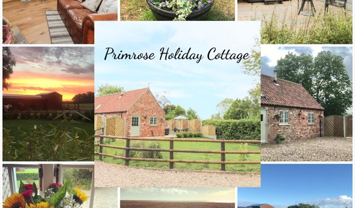 A composite image of the interior and exterior, a welcome hamper, and Oscar at Primrose Holiday Cottage, Winestead, East Yorkshire