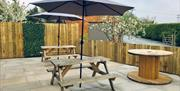 Part of the outside seating area at 'Pitch 21' bar & diner, Spring Valley Campsite, East Yorkshire