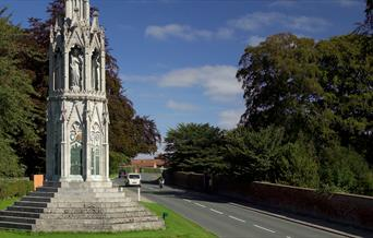 Sledmere Cross monument in the village of Sledmere, East Yorkshire