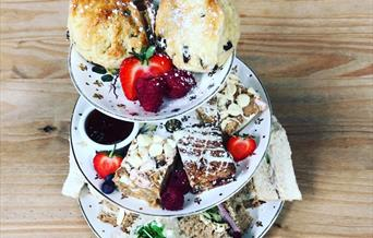 Afternoon tea on a serving plate, in East Yorkshire