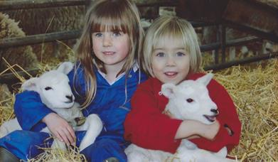 Two children sat in hay, holding two little lambs at Monk Fryston Beef and Lamb, in East Yorkshire