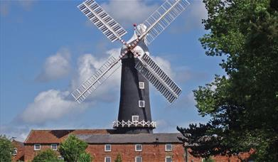 The exterior of Skidby windmill, in East Yorkshire