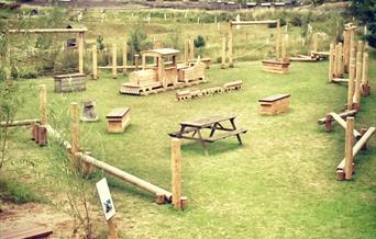 The childrens play area and picnic area at wolds way lavender, in East Yorkshire