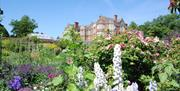 A flower border in front of Burton Agnes Hall in East Yorkshire.