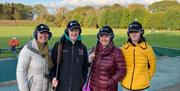 A group of visitors at the clay shooting ground, in East Yorkshire