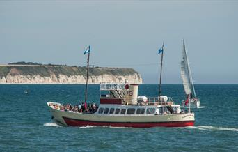 The Yorkshire Belle with a view of Flamborough Outer Headland in the background in East Yorkshire.