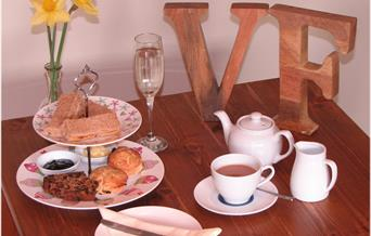 Afternoon tea at Village Farm B&B and Tea Shop in East Yorkshire.