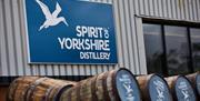 Barrels outside The Spirit of Yorkshire Distillery in East Yorkshire.
