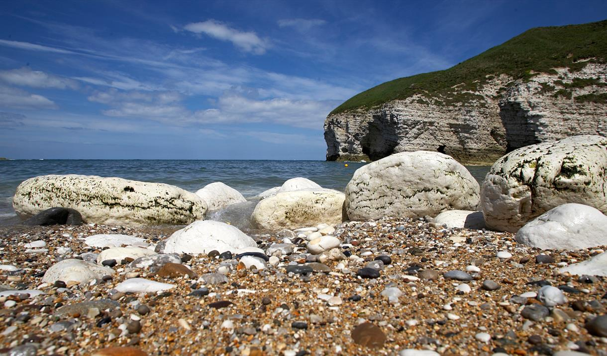 The chalk cliff, sand and sea of Flamborough , in East Yorkshire