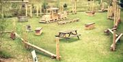 The picnic and wooden outdoor play area at Wolds Way Lavender in East Yorkshire.