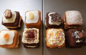Eight small square cakes, East Yorkshire