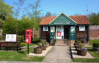 The reception and shop at Thorpe Hall Caravan and Camping site in East Yorkshire.