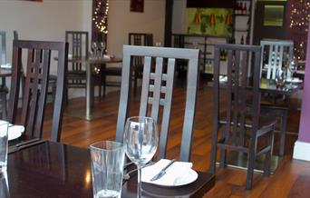 The dining table and chairs at Whites restaurant, Beverley, East Yorkshire