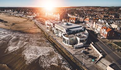 The sun setting over Bridlington Spa in East Yorkshire.