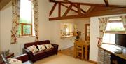 A living area and kitchen at Barmston Farm Holiday Park in East Yorkshire.