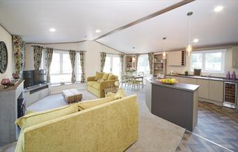 The Living room of a lodge in South Cliff Holiday Park in Bridlington, East Yorkshire