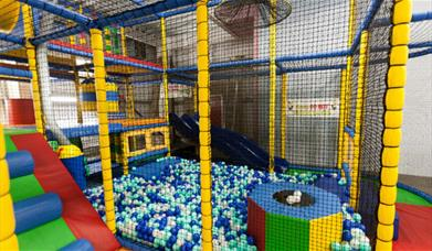 A climbing frame, soft play and ball pool at Mega Fun, Beverley in East Yorkshire.