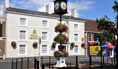 The millennium clock in the Market Place, by the Bell Hotel, Driffield, East Yorkshire