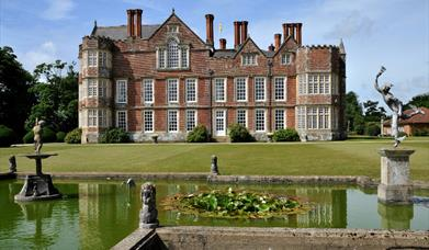 The Hall and ornamental pond at Burton Agnes Hall in East Yorkshire.