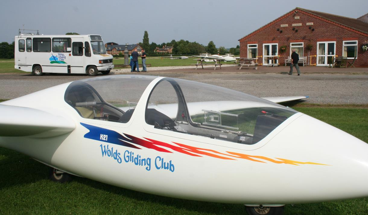 A glider grounded at the wolds gliding club, in East Yorkshire