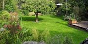 The garden area with lighting at Field View B&B in East Yorkshire.