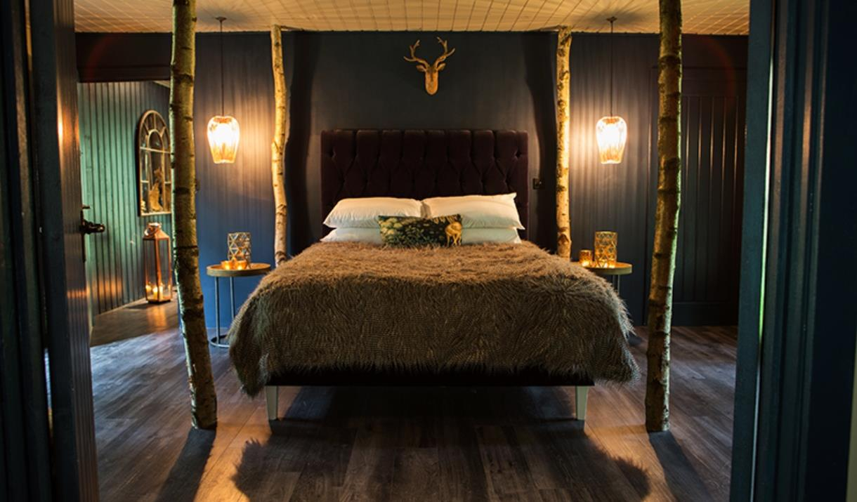 A rustic bedroom at North Star Club in East Yorkshire.