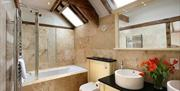 The bathroom in The Granary at High Barn Cottages in East Yorkshire.