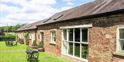 The outdoor grassed area with seating at Drewtons Cottages in East Yorkshire.