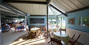 An outdoor seating area at Park Rose Caravan and Tents in East Yorkshire.