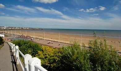 A view of the beach and sea near Sandra's Guest House in East Yorkshire.