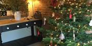 A Christmas tree at Bolthole Cottage, Tibthorpe, East Yorkshire.