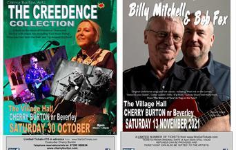 Two posters of music nights at Cherry Burton Village Hall, Cherry Burton, East Yorkshire