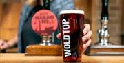 A glass of beer at Wold Top Brewery, Driffield in East Yorkshire.