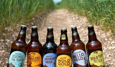 Some bottles of beer at Wold Top Brewery, Driffield in East Yorkshire.