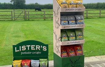 Two display stands of Lister's Crisps, in East Yorkshire