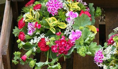 A floral arrangement, made on a workshop at Mires Beck Nursery, North Cave, East Yorkshire