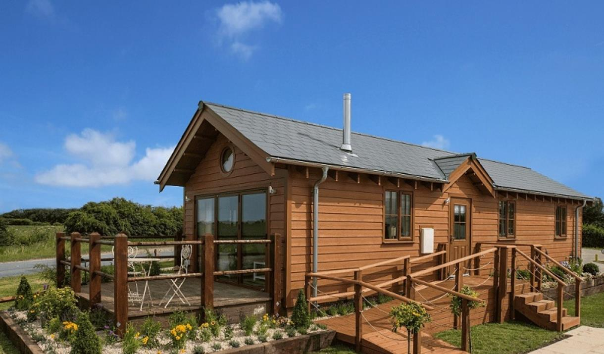 A luxury lodge at Willow Pastures Country Park in East Yorkshire.