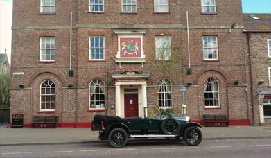 A vintage car outside the Londesborough Arms in East Yorkshire.