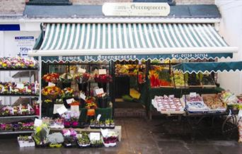 A market stall with fruit and vegetables on display, in East Yorkshire