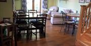 The living area with dining table at Field View B&B in East Yorkshire.