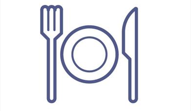 An image of an icon of a plate, fork & knife